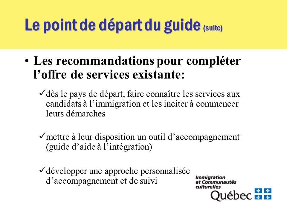 Le point de départ du guide (suite) Les recommandations pour compléter loffre de services existante: dès le pays de départ, faire connaître les servic