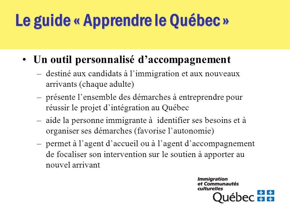 Le guide « Apprendre le Québec » Un outil personnalisé daccompagnement –destiné aux candidats à limmigration et aux nouveaux arrivants (chaque adulte)