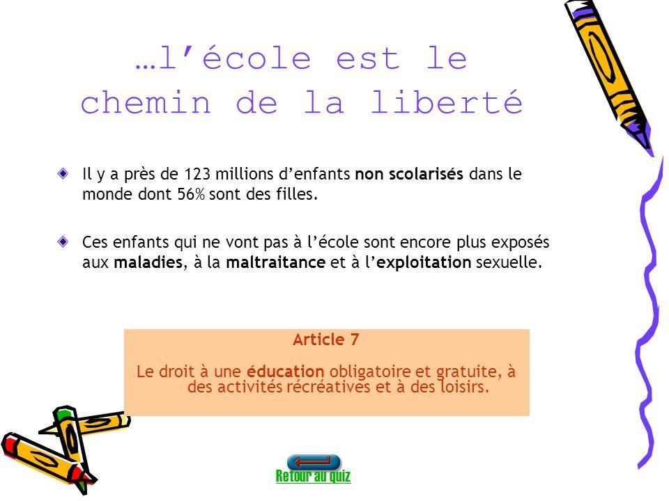 …lécole est le chemin de la liberté Il y a près de 123 millions denfants non scolarisés dans le monde dont 56% sont des filles.