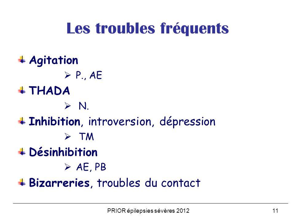 PRIOR épilepsies sévères 201211 Les troubles fréquents Agitation P., AE THADA N. Inhibition, introversion, dépression TM Désinhibition AE, PB Bizarrer