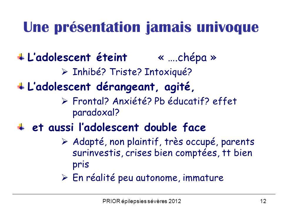 PRIOR épilepsies sévères 201212 Une présentation jamais univoque Ladolescent éteint « ….chépa » Inhibé.
