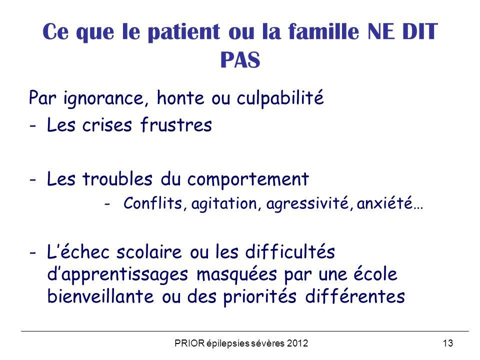 PRIOR épilepsies sévères 201213 Ce que le patient ou la famille NE DIT PAS Par ignorance, honte ou culpabilité -Les crises frustres -Les troubles du c