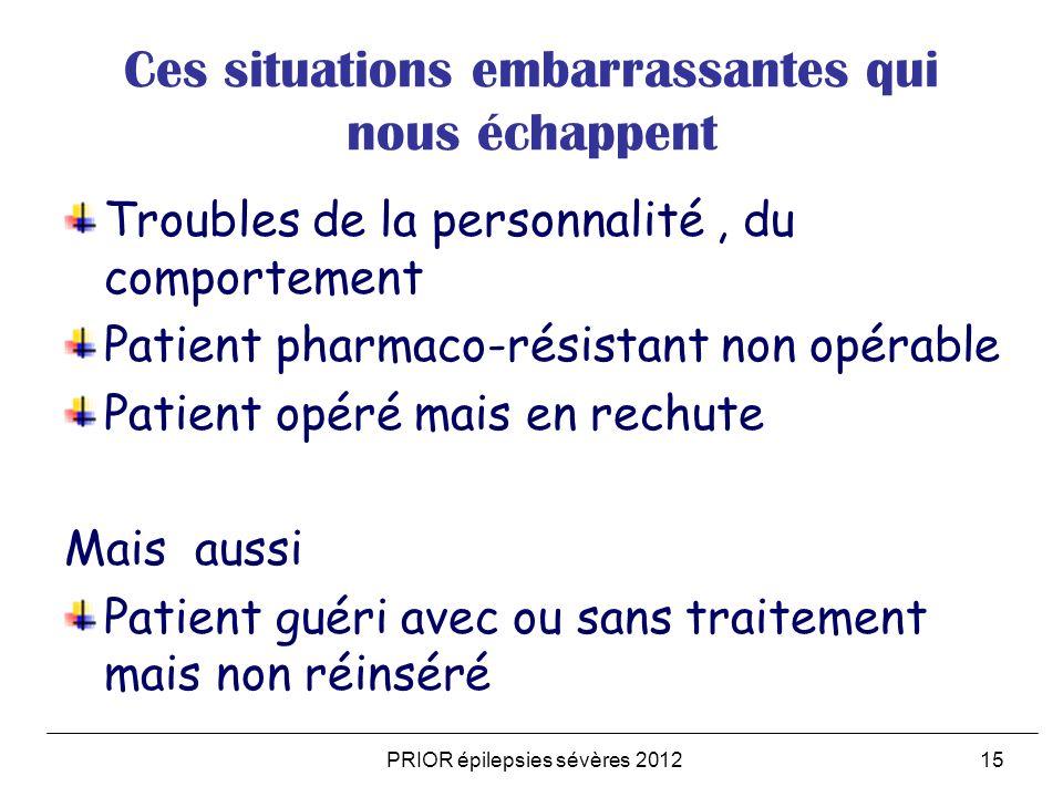 PRIOR épilepsies sévères 201215 Ces situations embarrassantes qui nous échappent Troubles de la personnalité, du comportement Patient pharmaco-résista