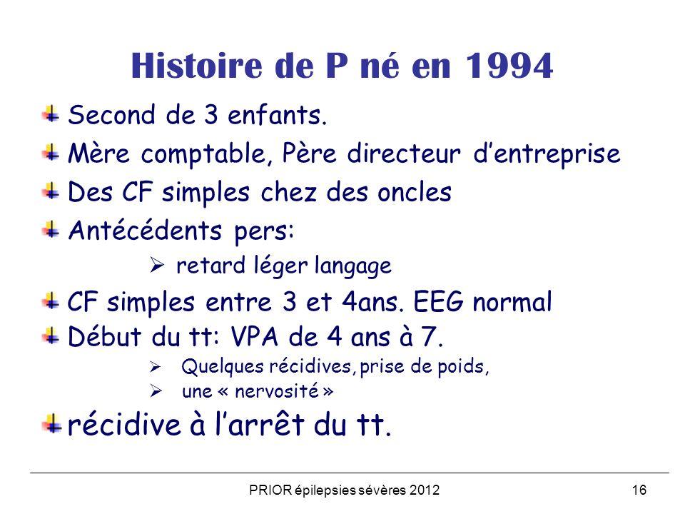 PRIOR épilepsies sévères 201216 Histoire de P né en 1994 Second de 3 enfants.