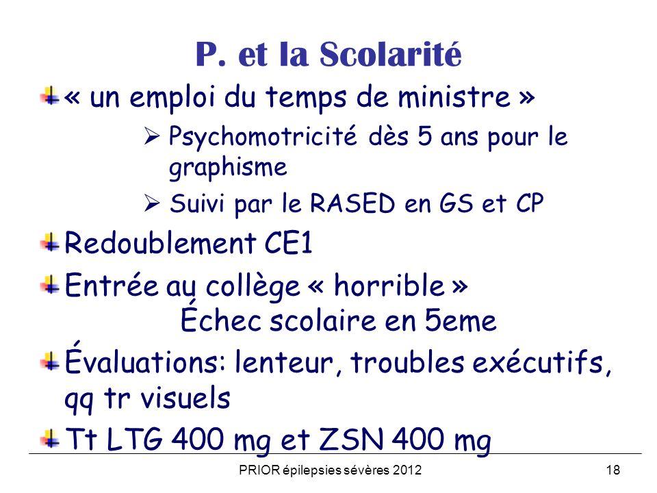 PRIOR épilepsies sévères 201218 P. et la Scolarité « un emploi du temps de ministre » Psychomotricité dès 5 ans pour le graphisme Suivi par le RASED e