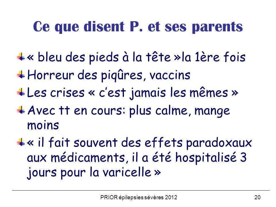 PRIOR épilepsies sévères 201220 Ce que disent P. et ses parents « bleu des pieds à la tête »la 1ère fois Horreur des piqûres, vaccins Les crises « ces