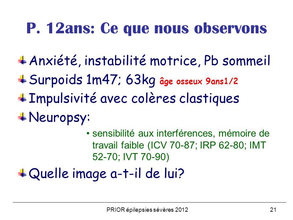 PRIOR épilepsies sévères 201221 P. 12ans: Ce que nous observons Anxiété, instabilité motrice, Pb sommeil Surpoids 1m47; 63kg âge osseux 9ans1/2 Impuls