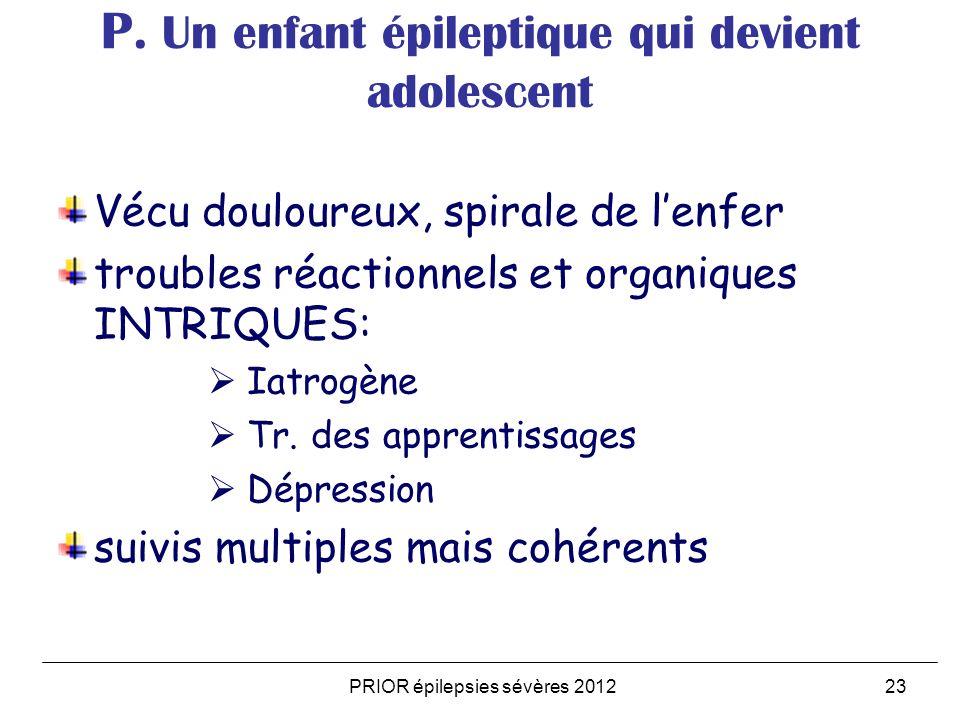 PRIOR épilepsies sévères 201223 P. Un enfant épileptique qui devient adolescent Vécu douloureux, spirale de lenfer troubles réactionnels et organiques