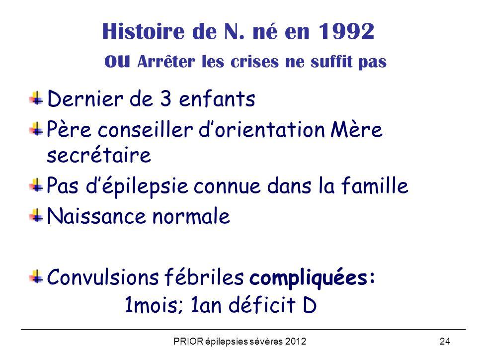 PRIOR épilepsies sévères 201224 Histoire de N. né en 1992 ou Arrêter les crises ne suffit pas Dernier de 3 enfants Père conseiller dorientation Mère s
