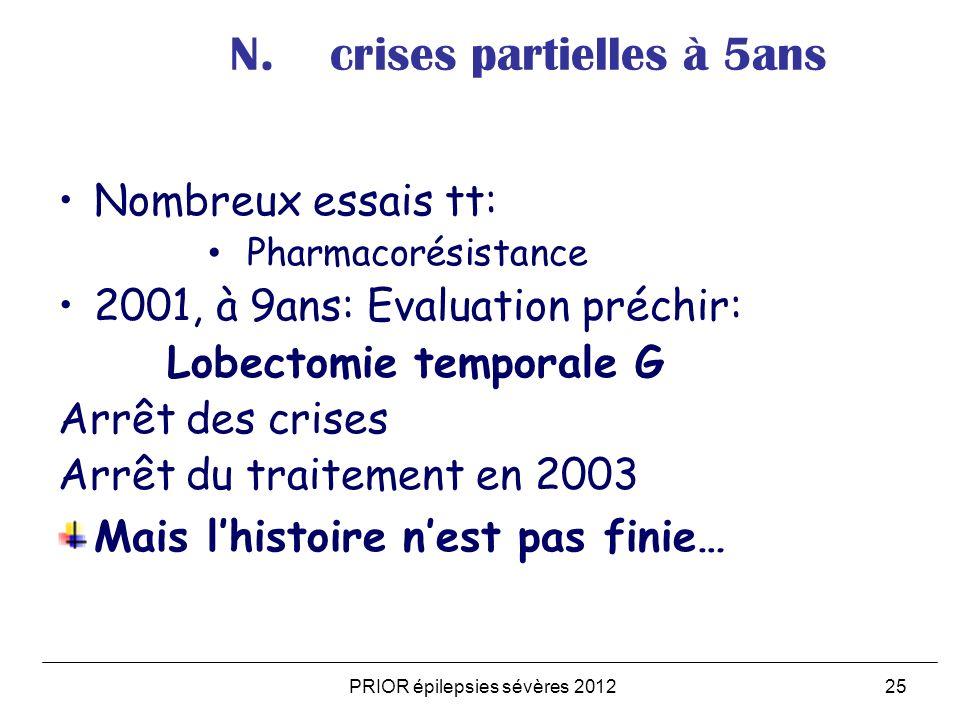 PRIOR épilepsies sévères 201225 N. crises partielles à 5ans Nombreux essais tt: Pharmacorésistance 2001, à 9ans: Evaluation préchir: Lobectomie tempor