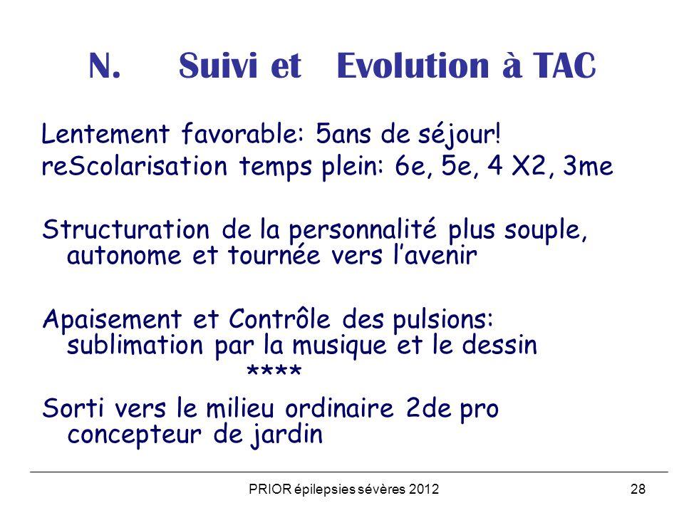 PRIOR épilepsies sévères 201228 N. Suivi et Evolution à TAC Lentement favorable: 5ans de séjour! reScolarisation temps plein: 6e, 5e, 4 X2, 3me Struct