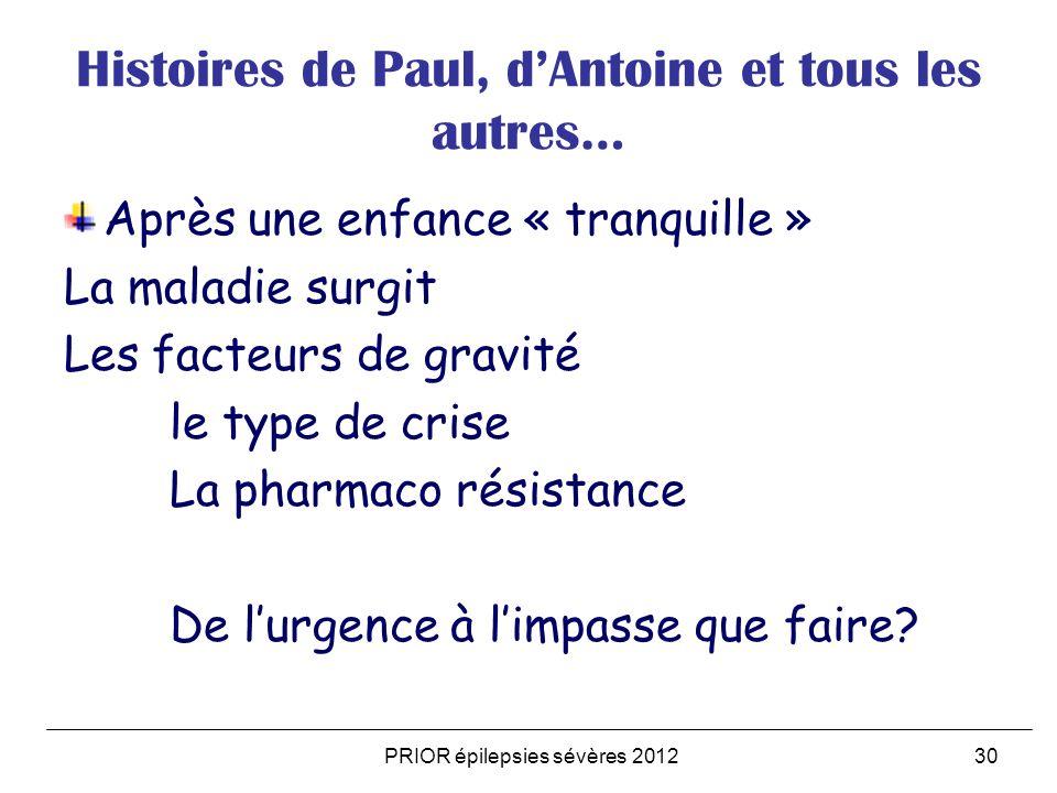PRIOR épilepsies sévères 201230 Histoires de Paul, dAntoine et tous les autres… Après une enfance « tranquille » La maladie surgit Les facteurs de gra