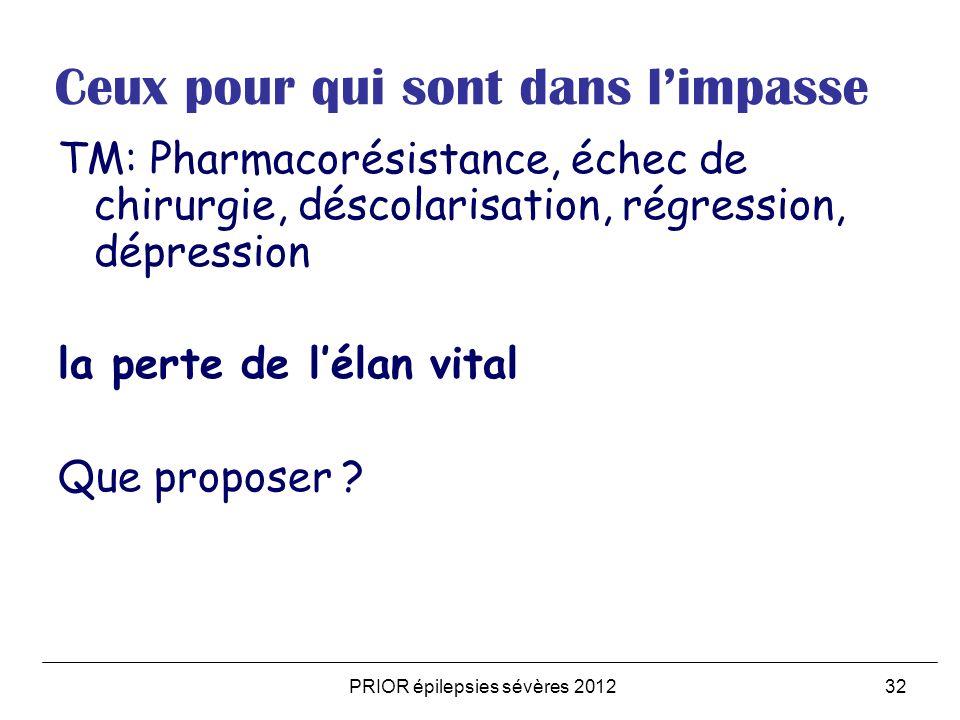 PRIOR épilepsies sévères 201232 Ceux pour qui sont dans limpasse TM: Pharmacorésistance, échec de chirurgie, déscolarisation, régression, dépression la perte de lélan vital Que proposer ?