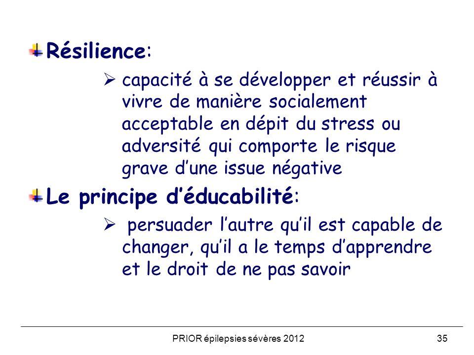 Résilience: capacité à se développer et réussir à vivre de manière socialement acceptable en dépit du stress ou adversité qui comporte le risque grave