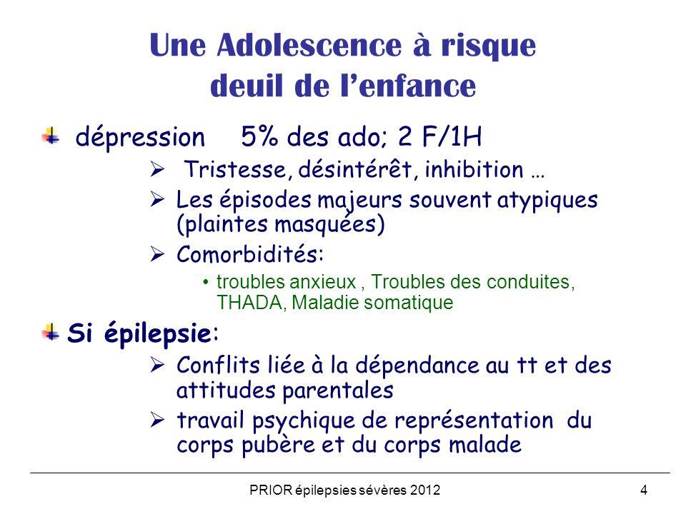 4 Une Adolescence à risque deuil de lenfance dépression 5% des ado; 2 F/1H Tristesse, désintérêt, inhibition … Les épisodes majeurs souvent atypiques