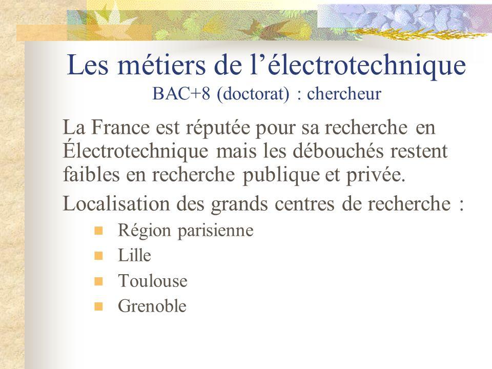 Les métiers de lélectrotechnique BAC+8 (doctorat) : chercheur La France est réputée pour sa recherche en Électrotechnique mais les débouchés restent f