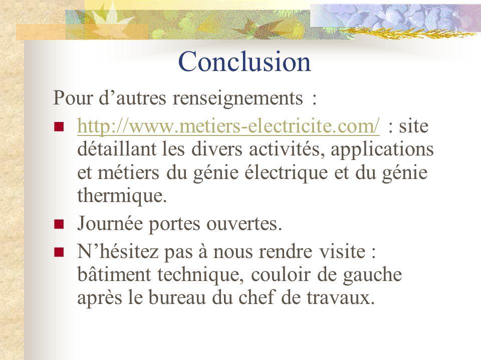 Conclusion Pour dautres renseignements : http://www.metiers-electricite.com/ : site détaillant les divers activités, applications et métiers du génie