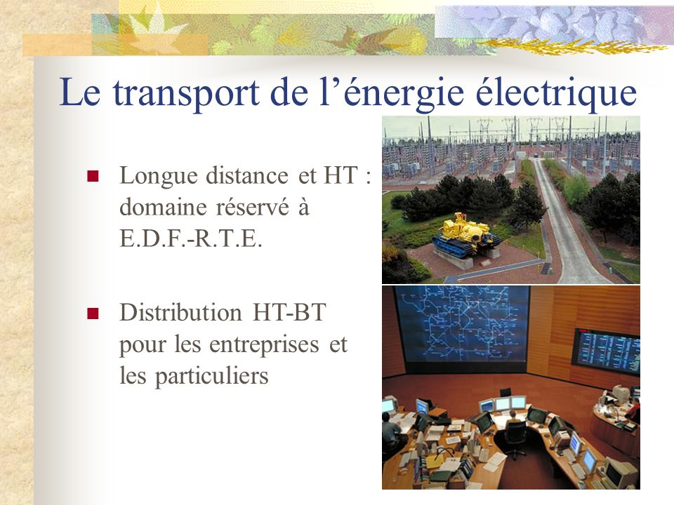 Le transport de lénergie électrique Longue distance et HT : domaine réservé à E.D.F.-R.T.E. Distribution HT-BT pour les entreprises et les particulier