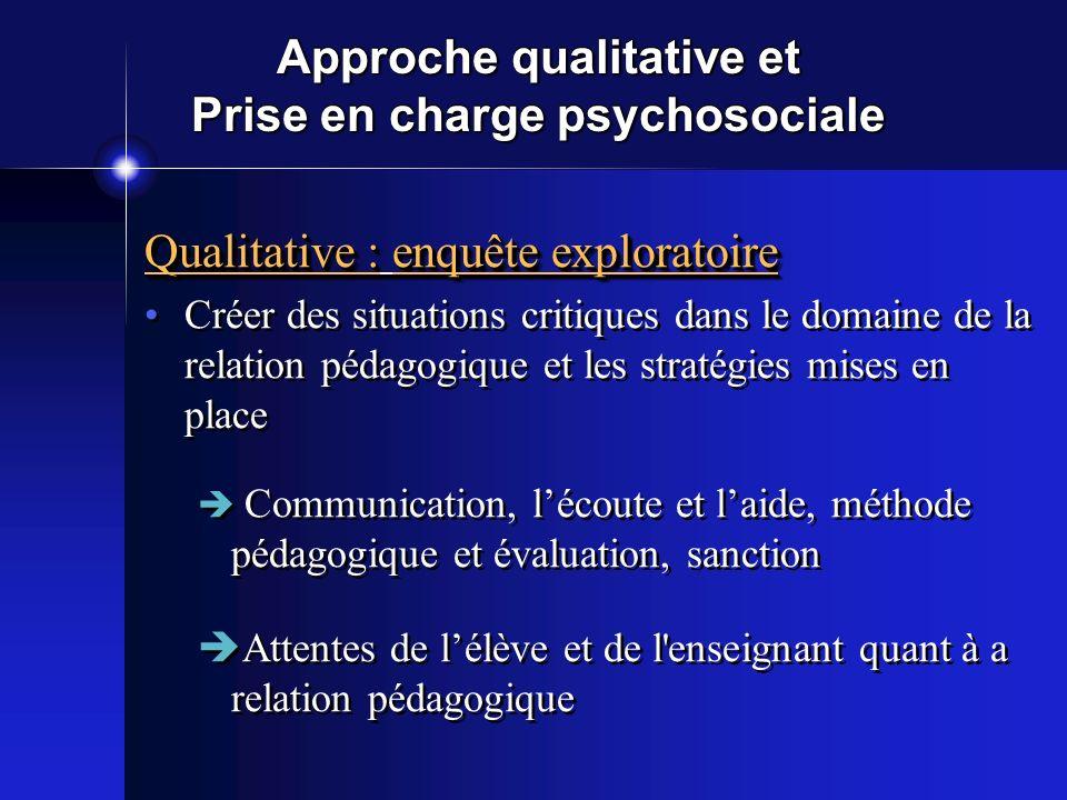 Approche qualitative et Prise en charge psychosociale Qualitative : enquête exploratoire Créer des situations critiques dans le domaine de la relation