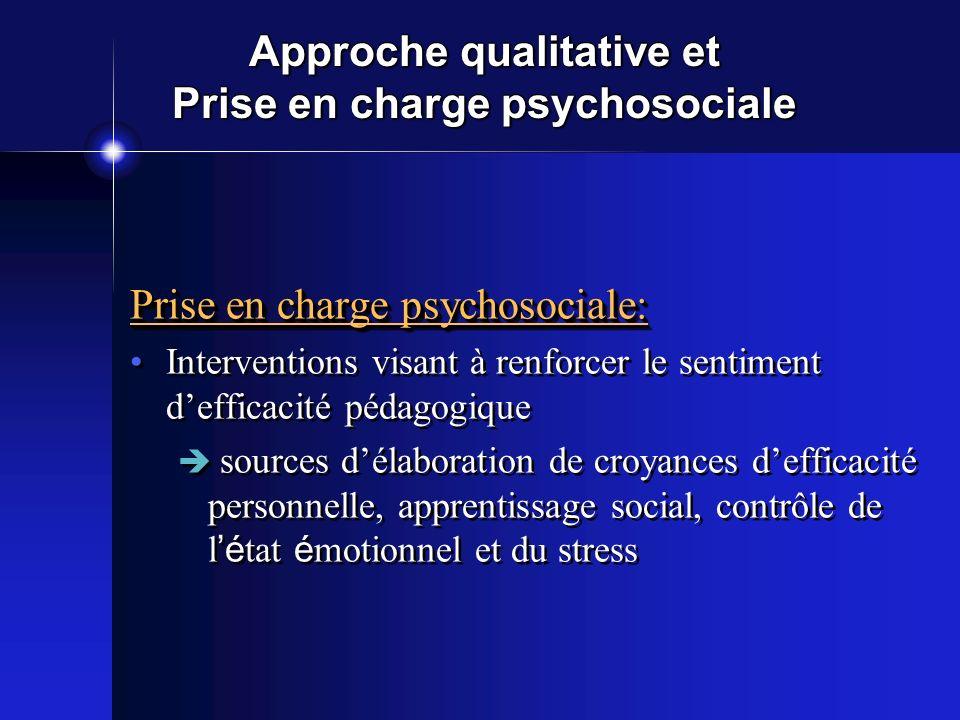 Approche qualitative et Prise en charge psychosociale Prise en charge psychosociale: Interventions visant à renforcer le sentiment defficacité pédagog