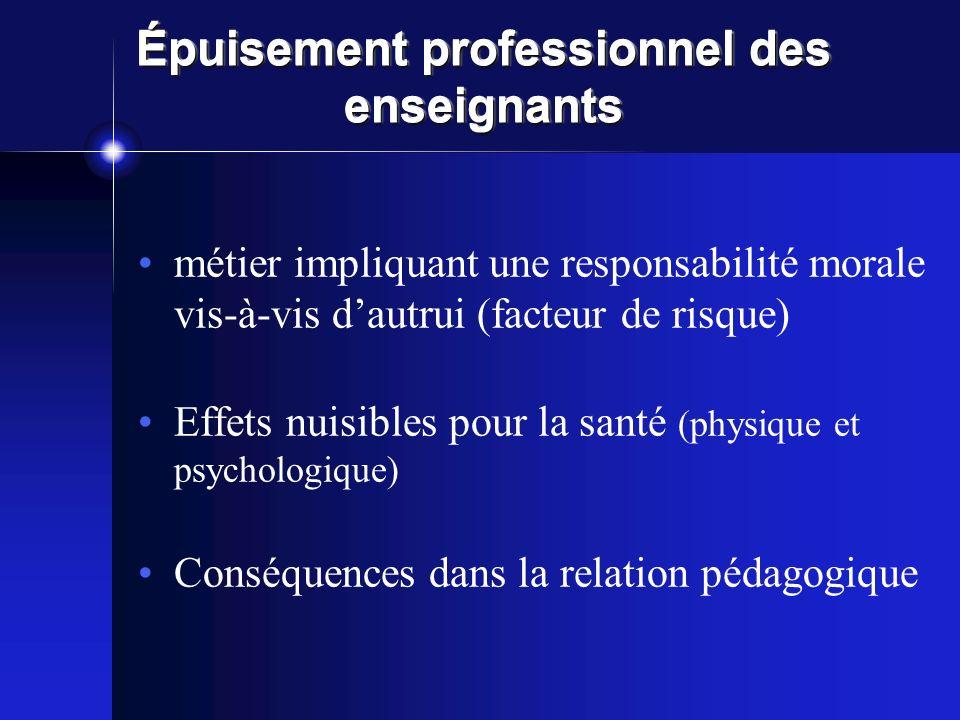 Épuisement professionnel des enseignants métier impliquant une responsabilité morale vis-à-vis dautrui (facteur de risque) Effets nuisibles pour la sa