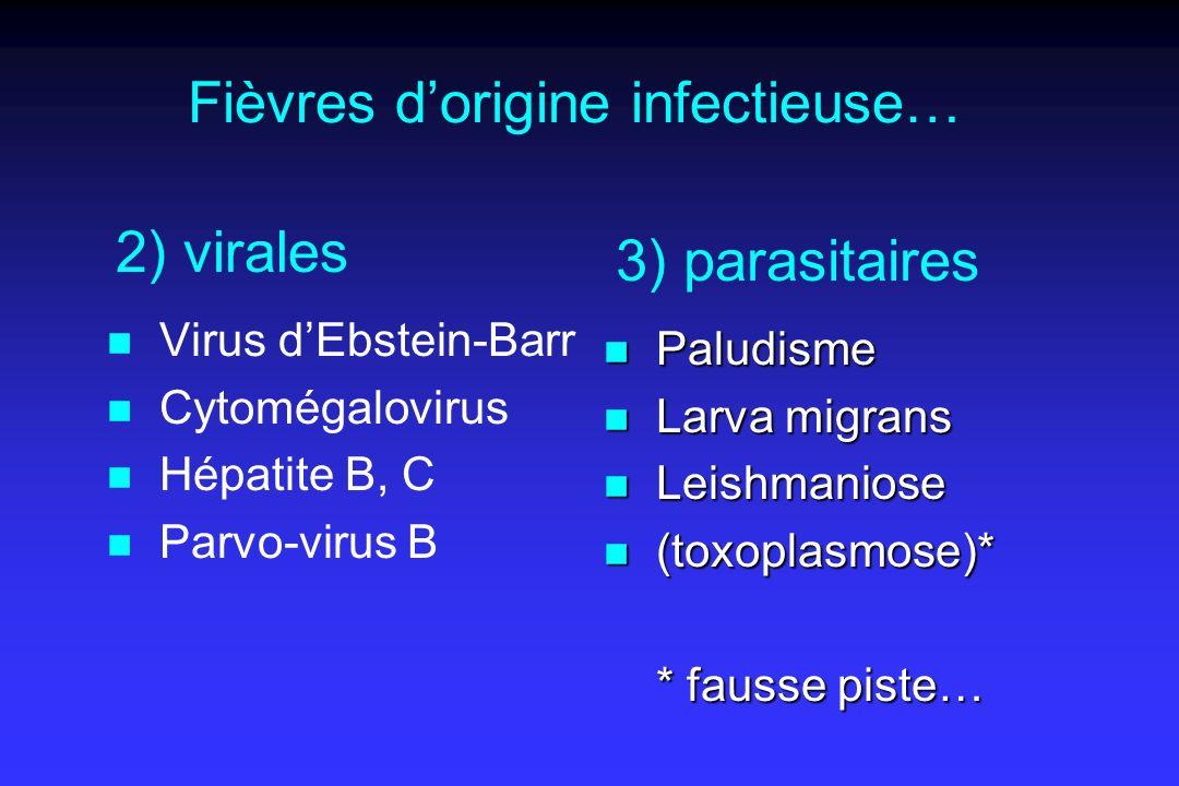 Fièvres dorigine infectieuse… n Virus dEbstein-Barr n Cytomégalovirus n Hépatite B, C n Parvo-virus B n Paludisme n Larva migrans n Leishmaniose n (toxoplasmose)* * fausse piste… 2) virales 3) parasitaires