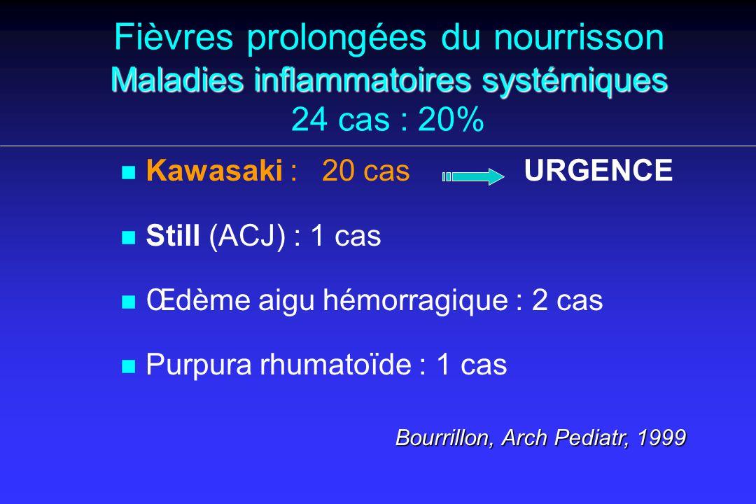Maladies inflammatoires systémiques Fièvres prolongées du nourrisson Maladies inflammatoires systémiques 24 cas : 20% n n Kawasaki :20 cas URGENCE n n