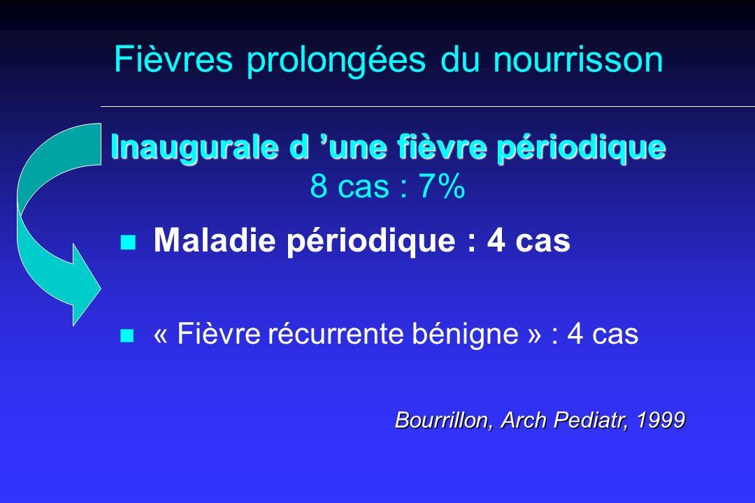 Inaugurale d une fièvre périodique Fièvres prolongées du nourrisson Inaugurale d une fièvre périodique 8 cas : 7% n n Maladie périodique : 4 cas n n « Fièvre récurrente bénigne » : 4 cas Bourrillon, Arch Pediatr, 1999