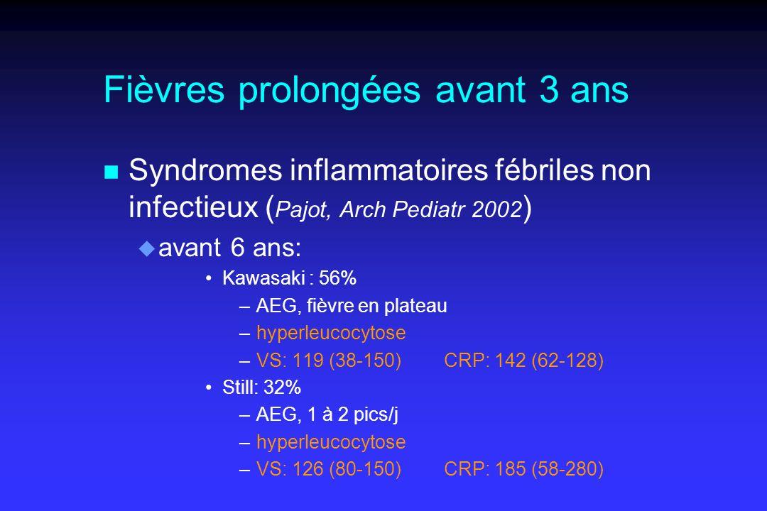 Fièvres prolongées avant 3 ans n Syndromes inflammatoires fébriles non infectieux ( Pajot, Arch Pediatr 2002 ) u avant 6 ans: Kawasaki : 56% –AEG, fièvre en plateau –hyperleucocytose –VS: 119 (38-150)CRP: 142 (62-128) Still: 32% –AEG, 1 à 2 pics/j –hyperleucocytose –VS: 126 (80-150)CRP: 185 (58-280)