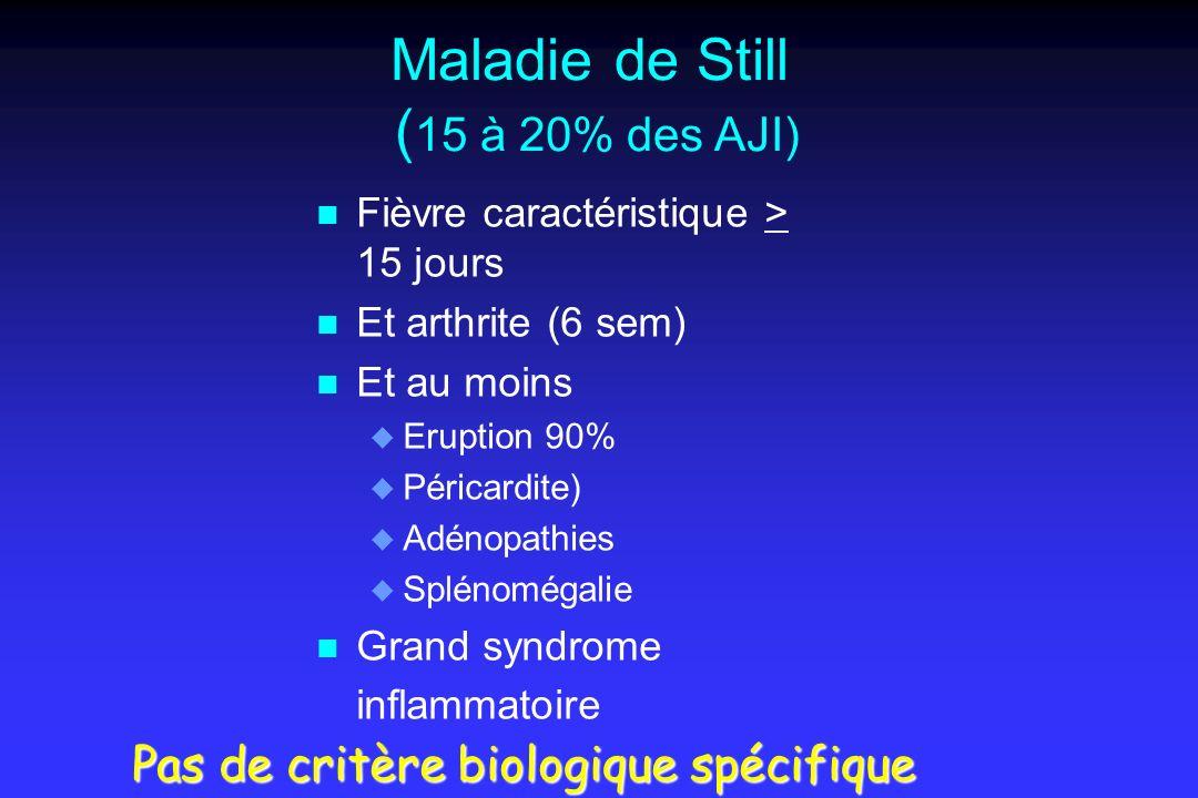 Maladie de Still ( 15 à 20% des AJI) n n Fièvre caractéristique > 15 jours n n Et arthrite (6 sem) n n Et au moins u u Eruption 90% u u Péricardite) u