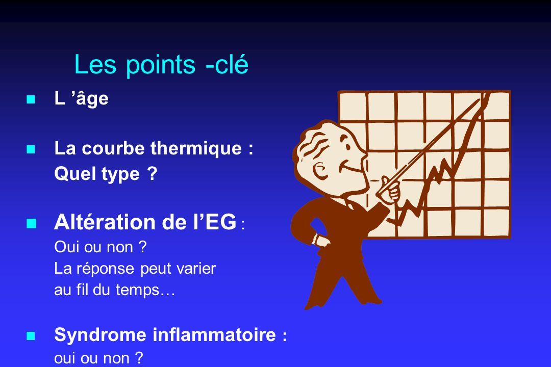 Les points -clé n L âge n La courbe thermique : Quel type ? n Altération de lEG : Oui ou non ? La réponse peut varier au fil du temps… n Syndrome infl