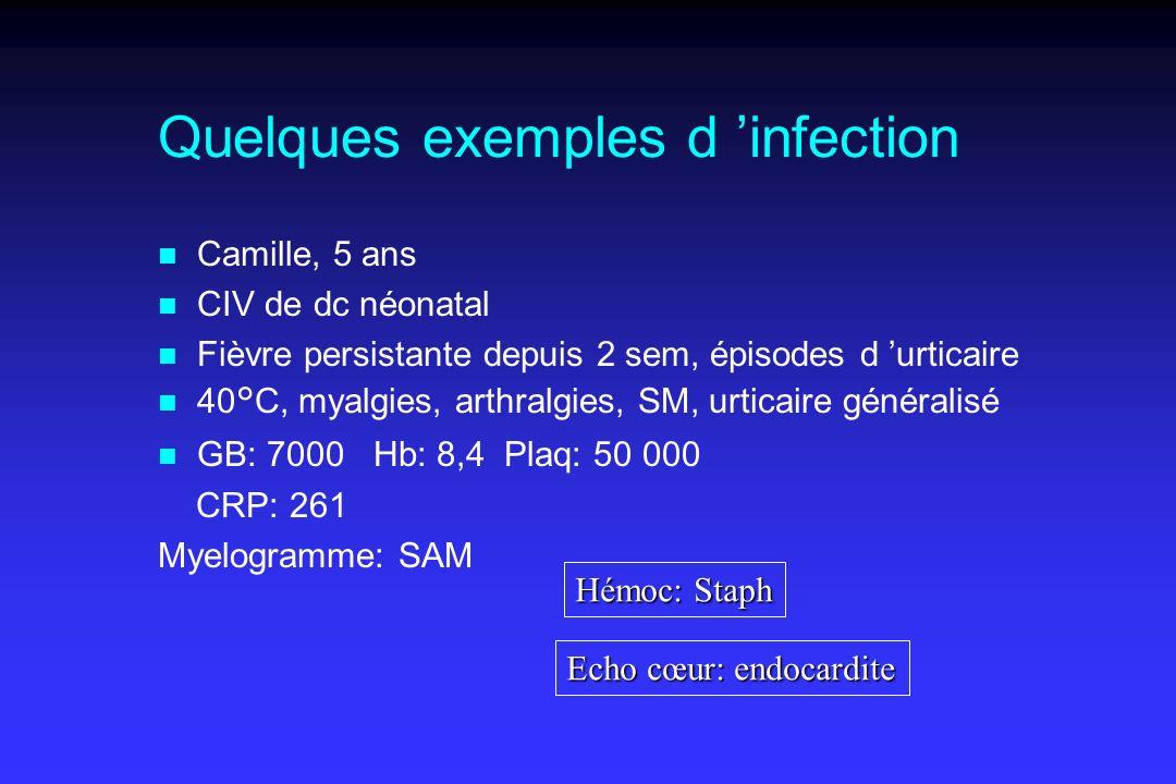 Quelques exemples d infection n Camille, 5 ans n CIV de dc néonatal n Fièvre persistante depuis 2 sem, épisodes d urticaire n 40°C, myalgies, arthralgies, SM, urticaire généralisé n GB: 7000 Hb: 8,4 Plaq: 50 000 CRP: 261 Myelogramme: SAM Hémoc: Staph Echo cœur: endocardite