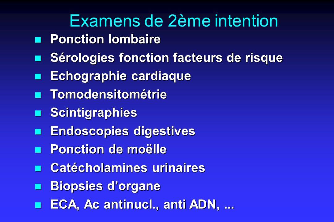 Examens de 2ème intention n Ponction lombaire n Sérologies fonction facteurs de risque n Echographie cardiaque n Tomodensitométrie n Scintigraphies n