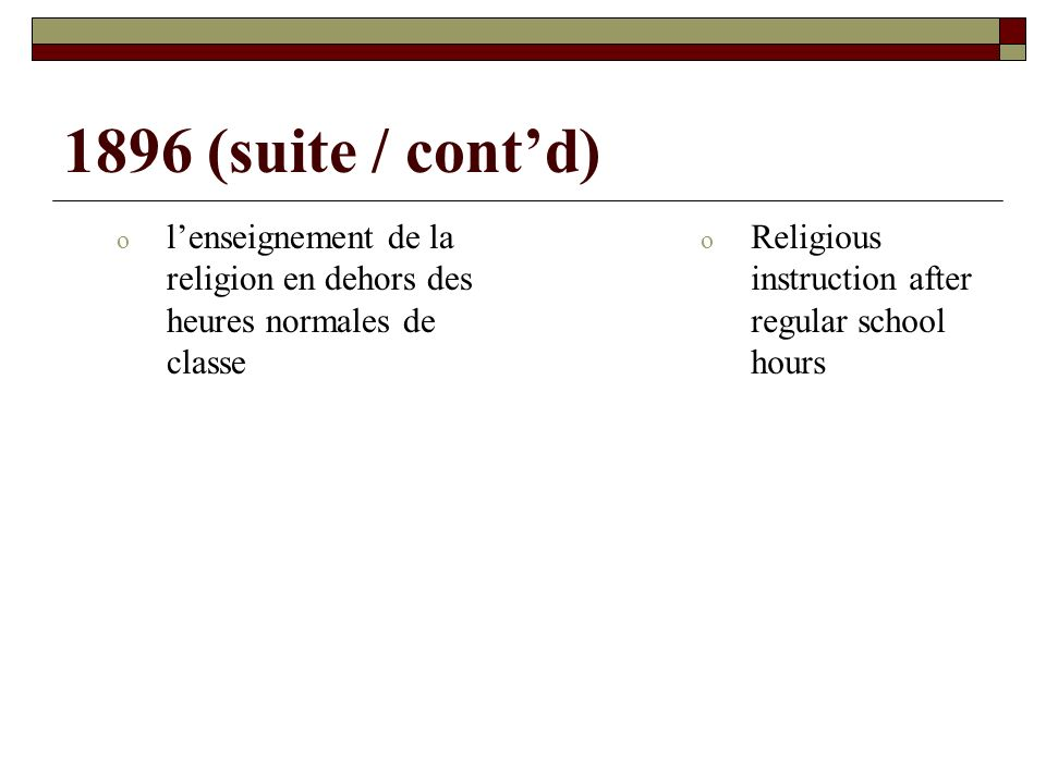 1896 (suite / contd) o lenseignement de la religion en dehors des heures normales de classe o Religious instruction after regular school hours