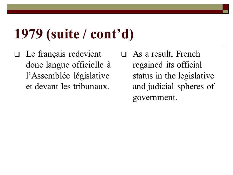 1979 (suite / contd) Le français redevient donc langue officielle à lAssemblée législative et devant les tribunaux.