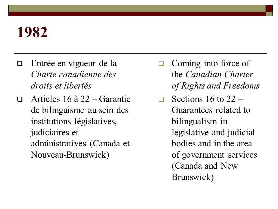 1982 Entrée en vigueur de la Charte canadienne des droits et libertés Articles 16 à 22 – Garantie de bilinguisme au sein des institutions législatives, judiciaires et administratives (Canada et Nouveau-Brunswick) Coming into force of the Canadian Charter of Rights and Freedoms Sections 16 to 22 – Guarantees related to bilingualism in legislative and judicial bodies and in the area of government services (Canada and New Brunswick)
