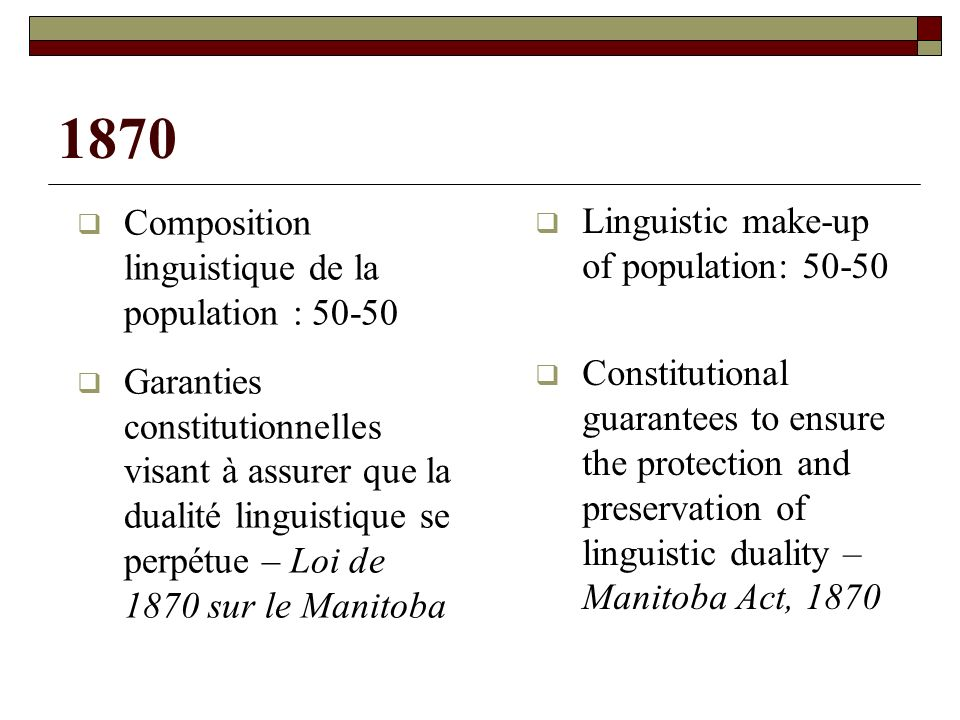 1870 (suite / contd) o Article 22 : Protection des écoles confessionnelles (protection du français tenue pour acquise) o Article 23 : Statut officiel du français et de langlais dans les institutions législatives et judiciaires o Section 22 – Protection of denominational schools (it was assumed that the use of French as a language of instruction would be automatically protected as part of this guarantee) o Section 23 – Official status of English and French in the Legislature and the courts