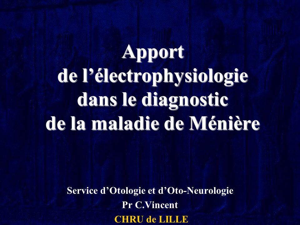 Apport de lélectrophysiologie dans le diagnostic de la maladie de Ménière Service dOtologie et dOto-Neurologie Pr C.Vincent CHRU de LILLE