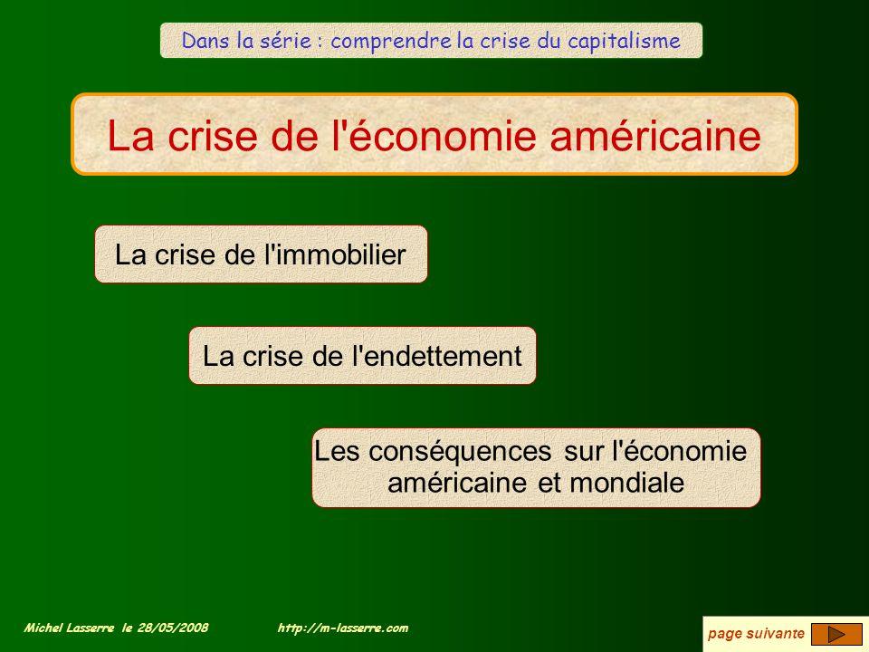 La crise de l'économie américaine La crise de l'immobilier Les conséquences sur l'économie américaine et mondiale La crise de l'endettement page suiva