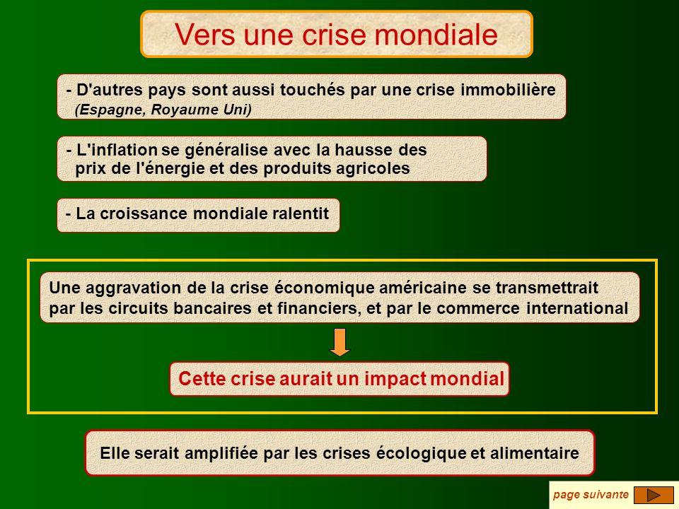 Vers une crise mondiale ? Vers une crise mondiale - D'autres pays sont aussi touchés par une crise immobilière (Espagne, Royaume Uni) Une aggravation