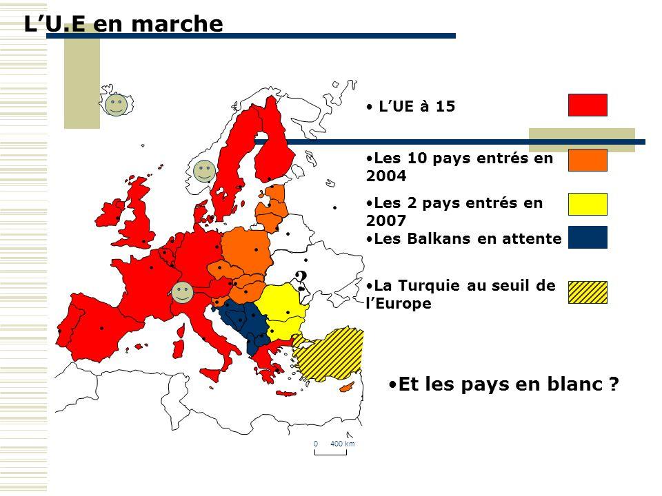 LU.E en marche 0 400 km LUE à 15 Les 10 pays entrés en 2004 Les 2 pays entrés en 2007 Les Balkans en attente La Turquie au seuil de lEurope Et les pay