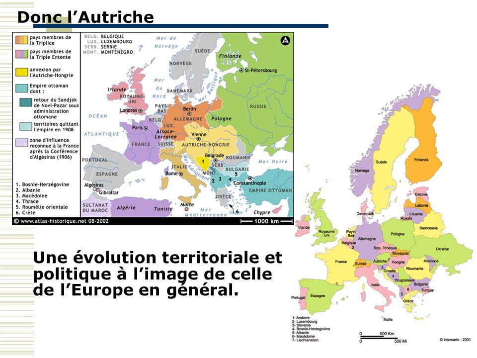 Donc lAutriche Une évolution territoriale et politique à limage de celle de lEurope en général.