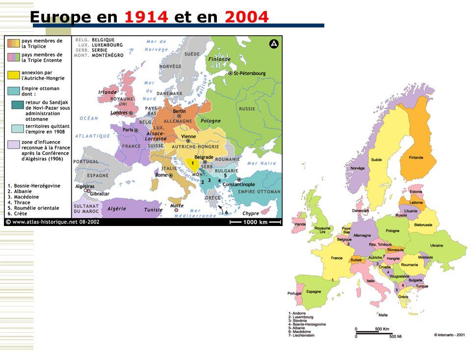 Europe en 1914 et en 2004