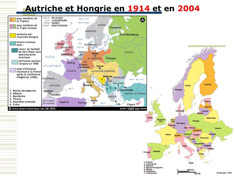Autriche et Hongrie en 1914 et en 2004