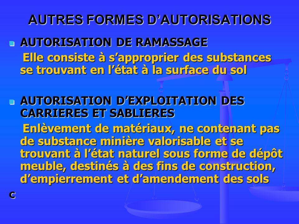 AUTRES FORMES DAUTORISATIONS AUTORISATION DE RAMASSAGE AUTORISATION DE RAMASSAGE Elle consiste à sapproprier des substances se trouvant en létat à la surface du sol Elle consiste à sapproprier des substances se trouvant en létat à la surface du sol AUTORISATION DEXPLOITATION DES CARRIERES ET SABLIERES AUTORISATION DEXPLOITATION DES CARRIERES ET SABLIERES Enlèvement de matériaux, ne contenant pas de substance minière valorisable et se trouvant à létat naturel sous forme de dépôt meuble, destinés à des fins de construction, dempierrement et damendement des sols Enlèvement de matériaux, ne contenant pas de substance minière valorisable et se trouvant à létat naturel sous forme de dépôt meuble, destinés à des fins de construction, dempierrement et damendement des solsc