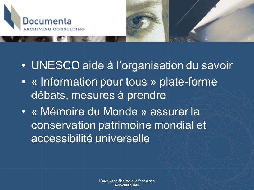 Larchivage électronique face à ses responsabilités UNESCO aide à lorganisation du savoir « Information pour tous » plate-forme débats, mesures à prendre « Mémoire du Monde » assurer la conservation patrimoine mondial et accessibilité universelle