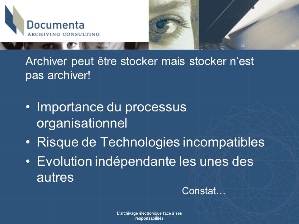 Larchivage électronique face à ses responsabilités Archiver peut être stocker mais stocker nest pas archiver! Importance du processus organisationnel