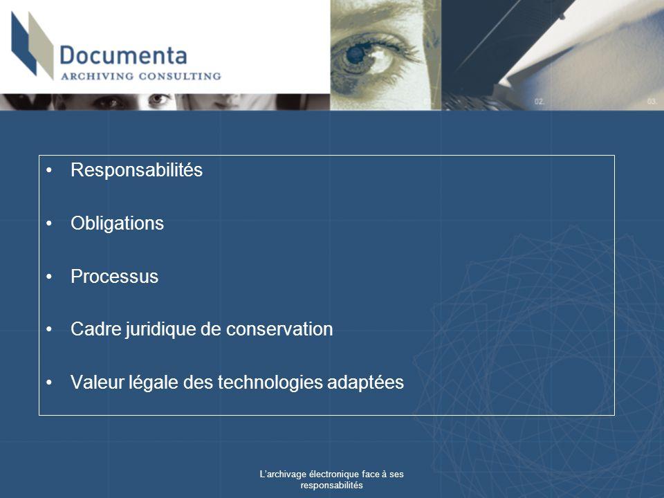 Larchivage électronique face à ses responsabilités Responsabilités Obligations Processus Cadre juridique de conservation Valeur légale des technologies adaptées