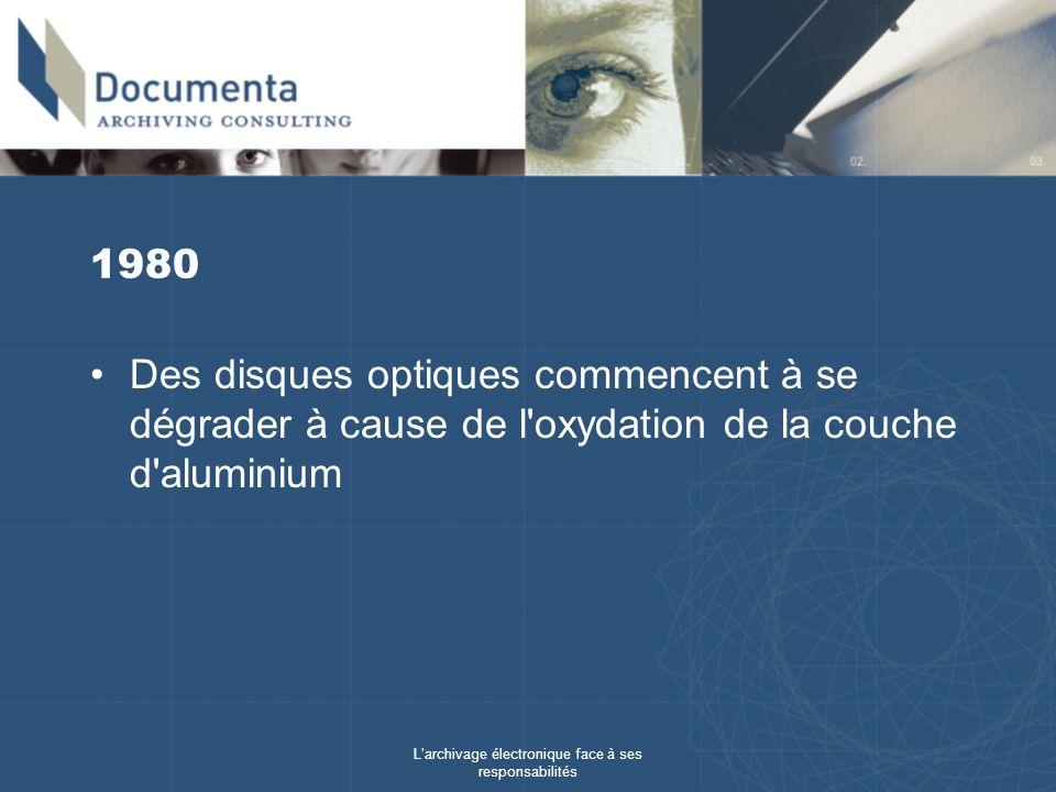 Larchivage électronique face à ses responsabilités 1980 Des disques optiques commencent à se dégrader à cause de l'oxydation de la couche d'aluminium