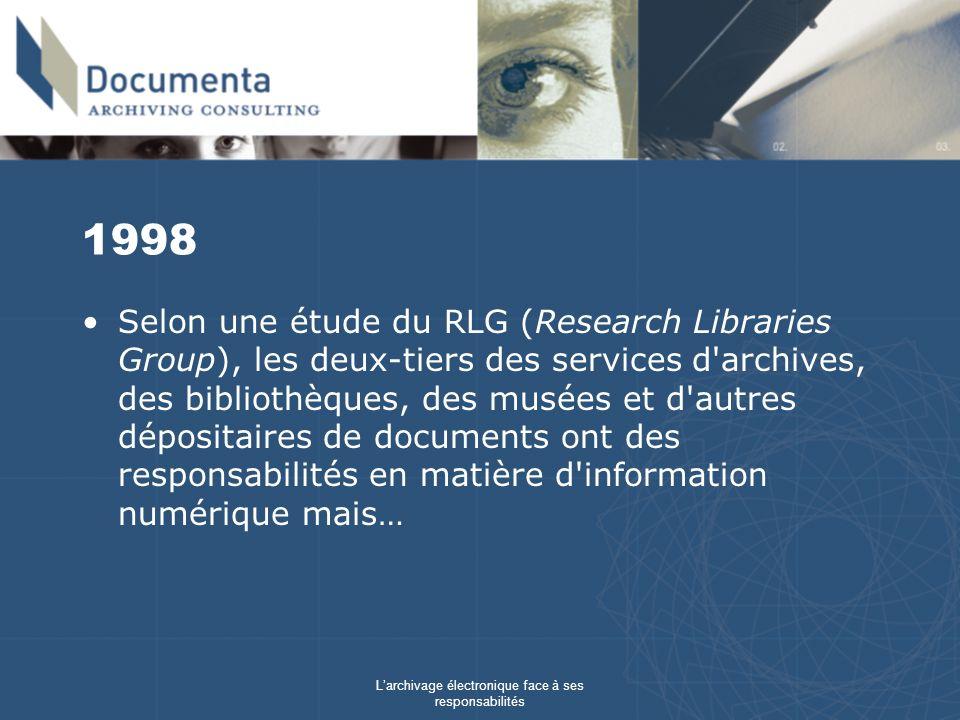 Larchivage électronique face à ses responsabilités 1998 Selon une étude du RLG (Research Libraries Group), les deux-tiers des services d archives, des bibliothèques, des musées et d autres dépositaires de documents ont des responsabilités en matière d information numérique mais…